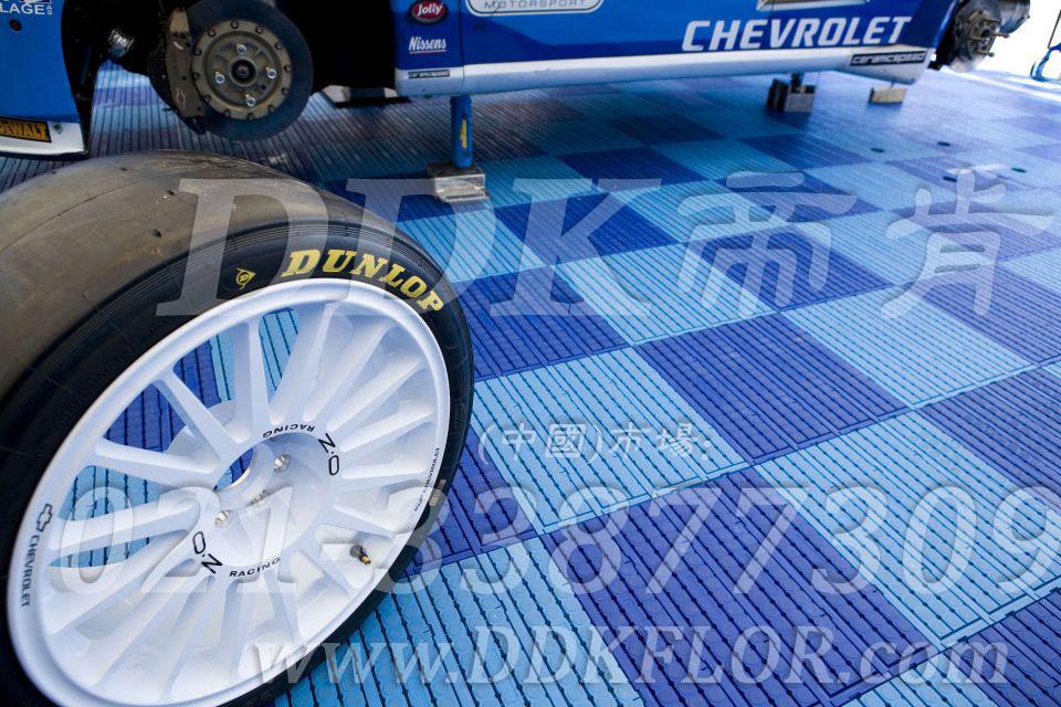 深蓝 浅蓝 雪佛兰汽车维修车间地板 帝肯维修车间地面材料