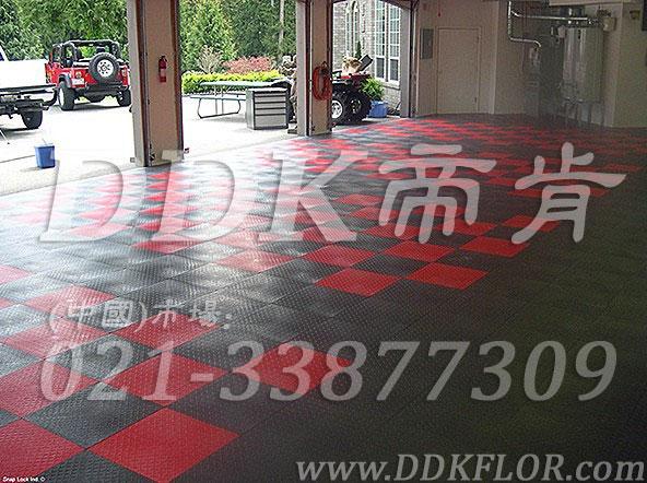 红 灰色 相拼 别墅车库地面装修材料 样板图片,效果图.