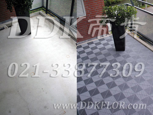 灰白色_自然相拼色_阳台地砖铺装前后效果图