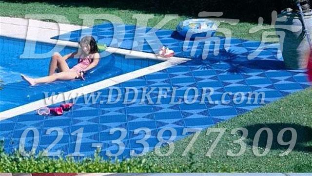 室外泳池四周地面防滑塑胶地砖材料(1)_蓝色