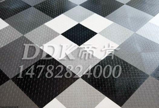【新型室内地板材料】黑色灰色及白色组合室内地板样板图片,帝肯(DDK)_3000_9979(工厂用耐酸碱耐磨防油地面砖)效果图,室内地板,室内地胶