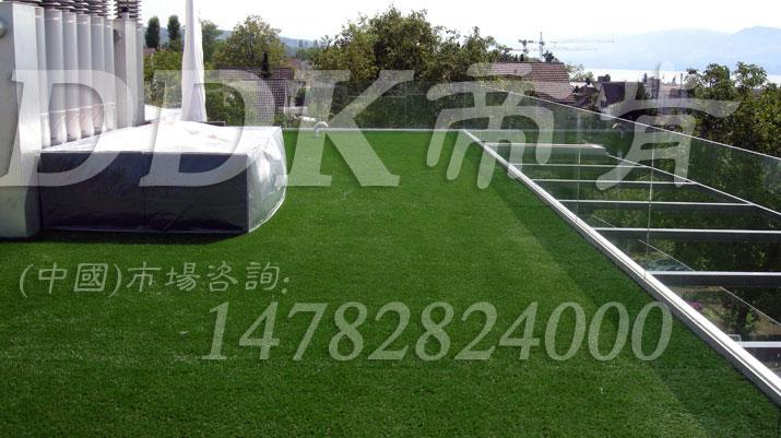 【玻璃房房顶草坪】美观的玻璃阳光房顶草坪地毯样板图片,帝肯(DDK)_6200(Green 歌林)效果图,露台草坪